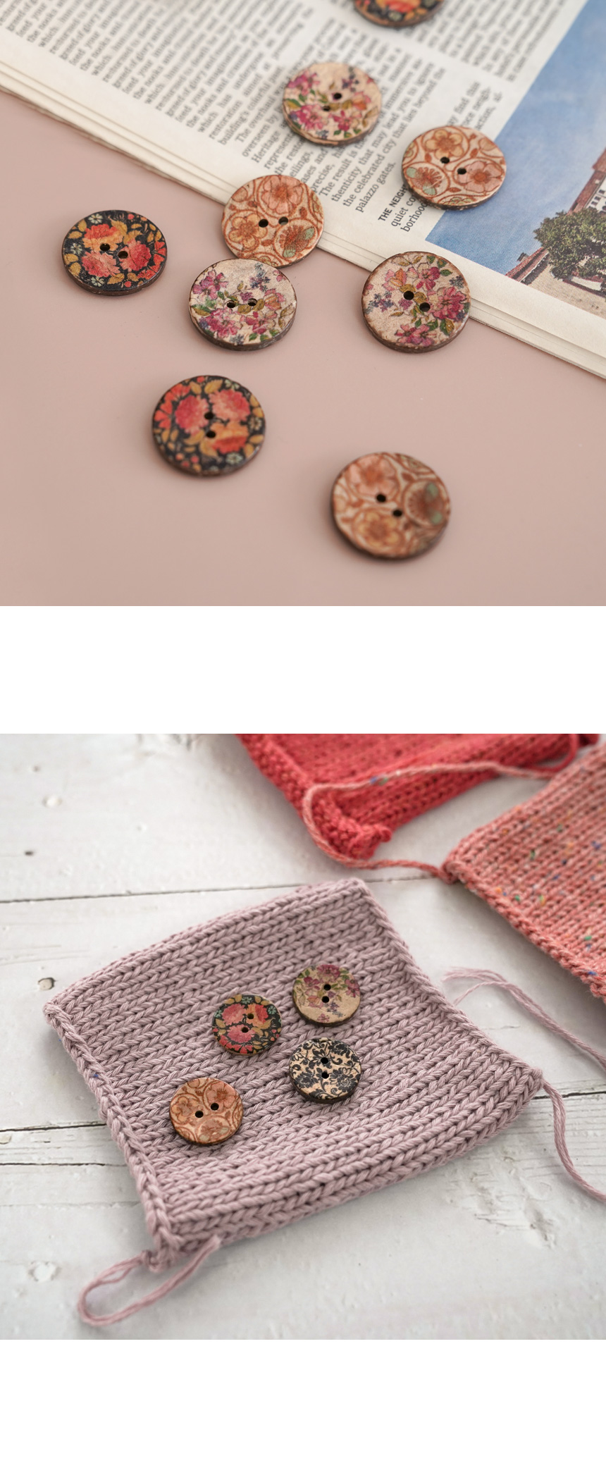 플라워 야자 단추 - 슬로우모먼츠, 1,200원, 뜨개질, 뜨개질 부자재